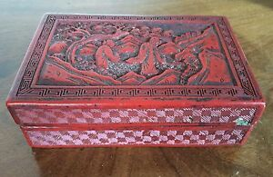 Antique Chinese Carved Red Cinnabar Lacquer Box 19th C Immortals Landscape