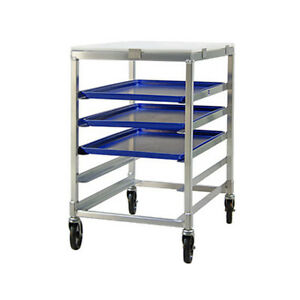 New Age 95958 Mobile Half Height Open Sides Bakery Bun Pan Rack W 5 Pan Capacity