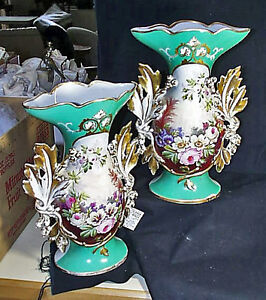 Massive Pair 19th Century Old Paris Floral And Gilt Vases Purchased In Belgium