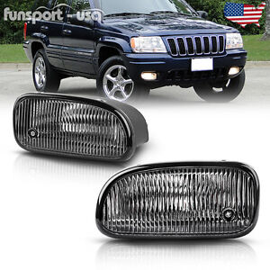 For 1999 2003 Jeep Grand Cherokee Clear Bumper Fog Lights Lamps bulbs Left right