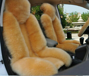1pc Light Tan Sheepskin Fur Car Seat Covers One Size Fit Most Universal Fit Us