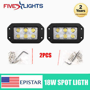6inch Spot 2x 18w Led Work Light Bar Driving Off Road Fog Jeep Truck Flush Mount
