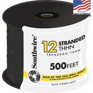 Black Copper Wire 500 Ft 12 Awg Stranded Thhn By Roll Insulated Electrical New