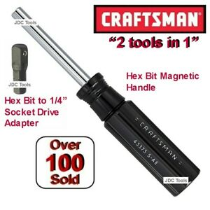 Craftsman Tools Magnetic Bit Holder Handle W Hex To 1 4 Drive Spinner Adapter