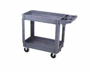 Heavy Duty Two Shelf Plastic Industrial Utility Shop Service Equip Cart 500 Lb