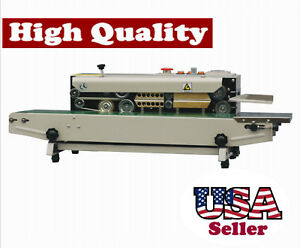 Horizontal Band Sealer W Emboss Printer Stainless Steel Continuous Seal Bag