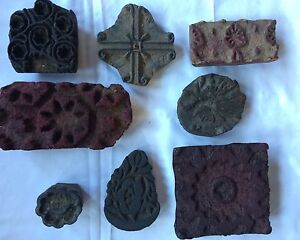 Antique Wooden Hand Carved Textile Fabric Stamp primitive Printing Wood Block
