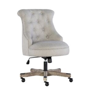 Linon Sinclair Wood Upholstered Office Chair In Light Gray