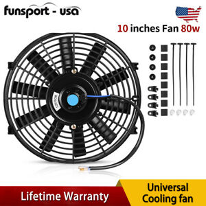 10 Inch Universal Slim Cooling Fan Electric Push Pull 80w 12v Mount Kit