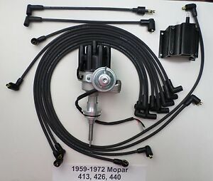 Mopar 440 59 72 Black Small Female Cap Hei Distributor Spark Plug Wires Coil