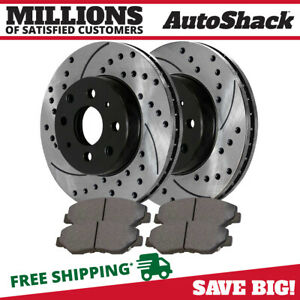 Front Drilled Slotted Rotors And Performance Pads For 1996 2004 2005 Honda Civic