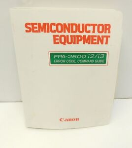 Canon Stepper Fpa 2500 I2 i3 Error Code Command Guide Reference Manual p20 2699