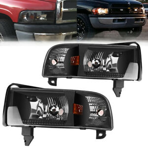 For 1994 2001 Dodge Ram Pickup Black Clear Headlights Assembly W Corner Lamps