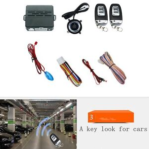 Vehicle Car Alarm Security System Engine Ignition Start Push Button Remote