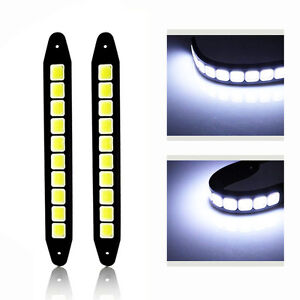 2pcs 20w Waterproof Led 12v Daytime Running Light Drl Cob Strip Lamp Fog Car F9