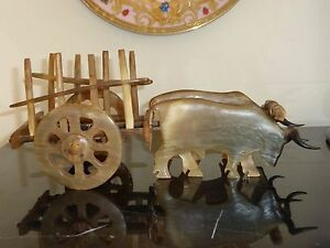 Antique Ox Horn Bull Carriage Handwork Carving Statue Extremely Detailed