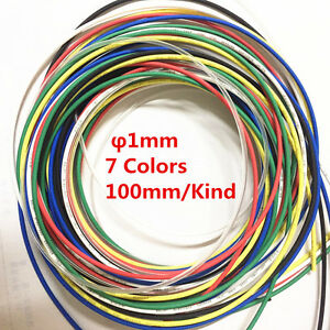 7pcs 7 Color 1mm Heat Shrink Tubing Tube Sleeving Wrap Cable Assorted 2 1