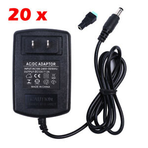 Wholesale 20pcs Dc 12v 2a Power Supply charger Adapter Plug Led Strip Light