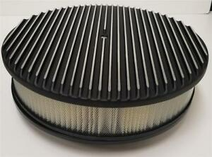 14 Raised Finned Aluminum Air Cleaner Filter Recessed Black Chevy Ford Gm Round