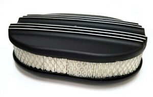 12 Oval Half Finned Black Aluminum Air Cleaner Classic Nostalgia Ford Chevy