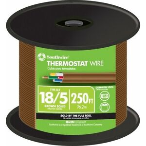 Thermostat Wire 250 Ft 18 5 Brown Solid Cu Cl2 Jacketed With Pre cut Length