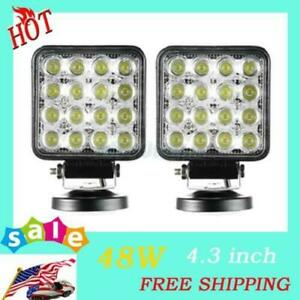 2x 48w Flood Square Led Light Bar Driving fog Suv 4wd Ute Tractor Boat Offroad