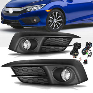 For 2016 2017 Honda Civic Clear Front Bumper Fog Light Driving Lamp Complete Kit