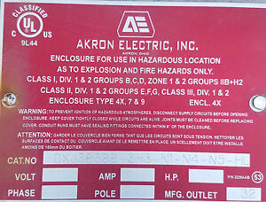 Akron Electronics Explosion Proof Enclosure 44x44x17in