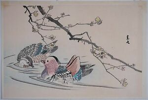 Imao Keinen Japanese Woodblock Two Ducks In Pond Good Color Condition