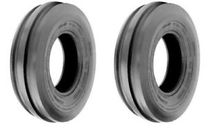 Two New 4 00 19 Tri rib 3 Rib Front Tractor Tires Tubes 8n 9n Ford 4 Ply Rated