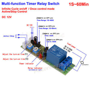 Dc 12v Adjustable 0 60min Cycle Loop Delay Timer Time Relay Switch On Off Module