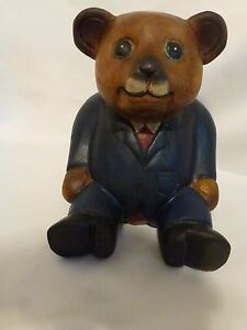 Vintage Swiss Wood Block Carving Bear In Suit Switzerland