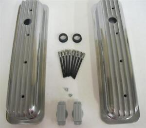 Small Block Chevy Short Style Finned Aluminum Valve Covers Retro Vortec Tbi 350