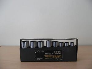 Vintage Truecraft 8 Pc Deep Wall Socket Set 6308 3 8 Dr Chrome Vanadium Japan