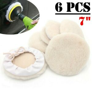 6pcs 7inch Lambs Wool Buffing Polishing Pads Bonnets Sanding On Car Buffer Pad