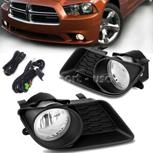 For 2011 2014 Dodge Charger Clear Front Bumper Fog Light Lamps Wiring Switch Kit