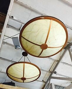 Vintage Western Chandeliers Bronze Stained Or Frosted Glass 3 Wide