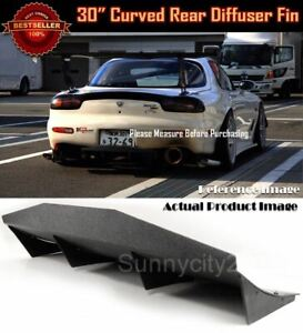 30 X 12 Abs Black Universal Rear Bumper 4 Fins Curved Diffuser Canard For Ford