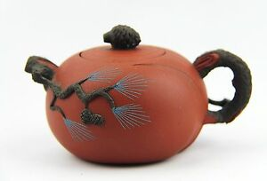 Chinese Yixing Zisha Clay Artistic Miniature Two Tone Teapot And Cover New 40