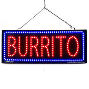 High Quality Large Led Open Signs Burrito 13 x32 Led factory 2659