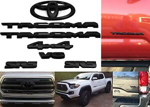 7pc Matte Black Emblem Badge Overlay Covers For 2016 2017 Toyota Tacoma New Usa