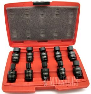 New 10 Pc 3 8 Dr Metric Shallow Universal Impact Socket Set