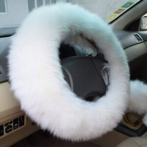 3pc White Australia Wool Fuzzy Autocar Steering Wheel Cover Universal Winter Us