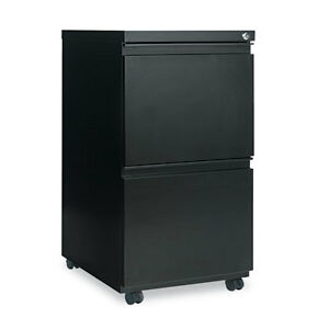 Two drawer Metal Pedestal File With Full length Pull 14 7 8w X 19 1 8d Black