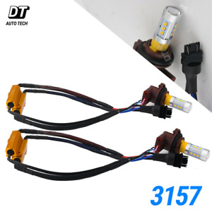 Error Free 3157 Led Turn Signal Parking Drl Amber Yellow Light Bulbs Resistor
