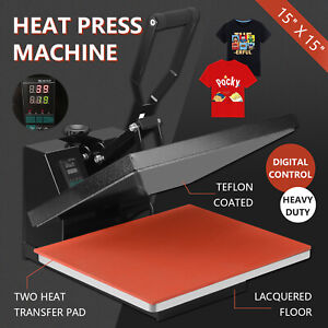 15 X 15 Digital Heat Press Teflon Coated Clamshell T shirt Transfer Machine