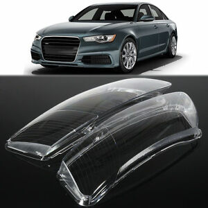 Pair Headlight Lens Lampshade Pc Shell Cover Replacement For Audi A6 C6 New