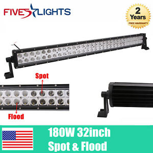 32inch 180w Led Light Bar Flood Spot Combo Beam Slim Lamp Offroad Suv Atv Car 33
