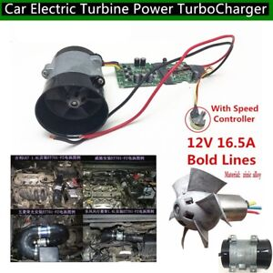 12v Car Electric Turbine Power Turbo Charger Tan Boost Air Intake Fan Control