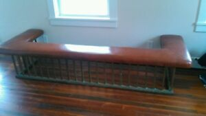 Antique English Brass Club Fender Fireplace Seat Bench Leather Seat 1800 S